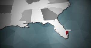 Modern United States motion graphics map - Miami Pin Location Animation stock illustration