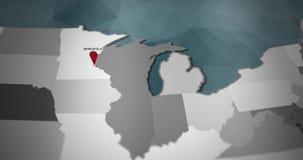Modern United States motion graphics map - Minneapolis Pin Location Animation stock illustration