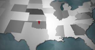 Modern United States motion graphics map - Oklahoma City Pin Location Animation stock illustration