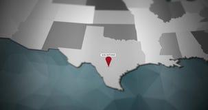 Modern United States motion graphics map - San Antonio Pin Location Animation vector illustration