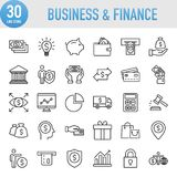Modern Universal Business & Finance Line Icon Set. Working Royalty Free Stock Photo