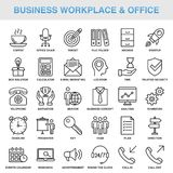 Modern Universal Business Office Icons Set. Modern Universal Business Workplace Office Icons Set Working Stock Photos