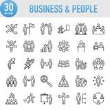 Modern Universal Business & People Line Icon Set Royalty Free Stock Images