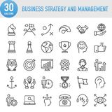 Modern Universal Business Strategy and Management Line Icon Set. Working Royalty Free Stock Image