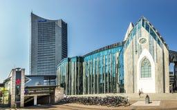 Modern universitetkorridor i Leipzig Arkivfoto