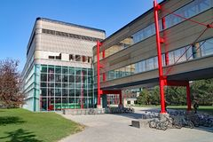 Modern university architecture, University of Waterloo, Canada. WATERLOO, ONTARIO, CANADA - APRIL 2010: The University of Waterloo, highly regarded for technical royalty free stock images