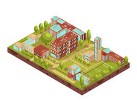 Modern University Buildings Isometric Layout Stock Photography