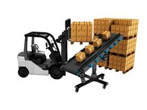 Modern unloading of goods by forklift in paper boxes 3d render on white background no shadow. Modern unloading of goods by forklift in paper boxes 3d render on stock illustration