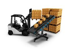 Modern unloading of goods by forklift in paper boxes 3d render on white background with shadow. Modern unloading of goods by forklift in paper boxes 3d render on stock illustration