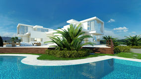 Modern upmarket tropical villa exterior with pool royalty free stock images
