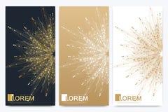 Modern uppsättning av vektorreklamblad Molekyl och kommunikationsbakgrund Geometrisk abstrakt guld- packe Förbindelselinje Royaltyfri Bild