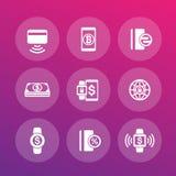 Modern uppsättning för betalningmetodsymboler royaltyfri illustrationer