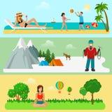 Modern uppsättning för plan stil av utomhus- aktiviteter Summe Arkivfoton