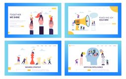 Modern uppsättning för sida för landning för begrepp för affärsstrategi Vetenskapsteknologi för konstgjord intelligens och data F royaltyfri illustrationer