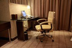 Modern upscale hotel room Royalty Free Stock Photos