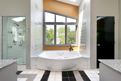 Modern upscale master bath Stock Photo
