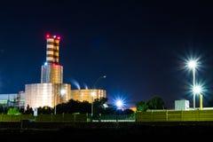 Modern urban building illuminated at night Royalty Free Stock Photo