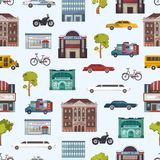 Modern urban city buildings and transport seamless pattern megapolice town background vector illustration. Background Stock Photo