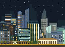 Modern urban city landscape vector flat night panorama buildings. City landscape night view. Vector flat detailed skyline or panorama illustration. Modern urban Stock Photo