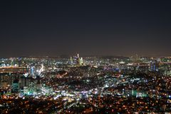 Modern Urban City At Night. Night city view of Seoul. Suitable for a futuristic o night view for a modern city Stock Photos
