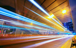 Modern Urban City at Night with Freeway Traffic Royalty Free Stock Image