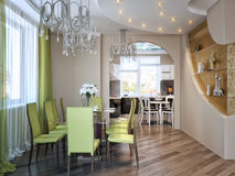 Modern Urban Contemporary Dining room and Kitchen. 3d render Royalty Free Stock Image