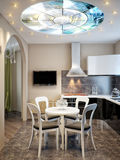 Modern Urban Contemporary Dining room and Kitchen. 3d render Stock Images