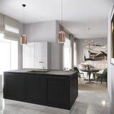 Modern Urban Contemporary Gray Kitchen Interior stock illustration