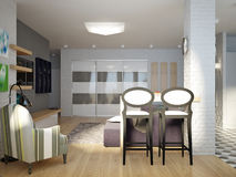 Modern Urban Contemporary Studio open living room, dining room  Royalty Free Stock Image