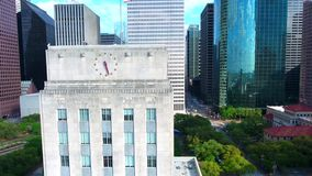 Modern urban financial district downtown city skyscraper architecture in 4k aerial cityscape panorama of Houston Texas. Modern urban financial district downtown stock video