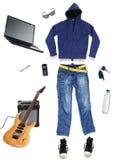 Modern urban lifestyle concept. White background stock photo