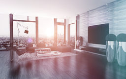 Modern urban living room interior Stock Images
