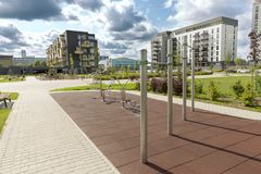 Modern urban outdoor gym. In new residential district Royalty Free Stock Photography
