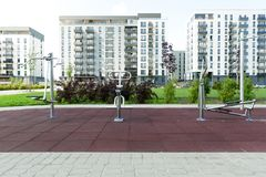 Modern urban outdoor gym. In new residential district Stock Images