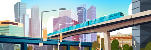 Modern Urban Panorama With High Skyscrapers And Subway City Background Horizontal Banner. Flat Vector Illustration Stock Image