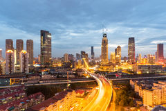 Modern urban scene of tianjin in nightfall Stock Photo