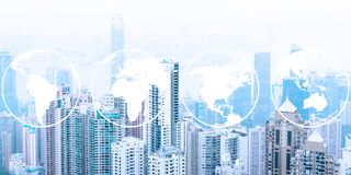 Modern urban skyline. Global communications and networking. World maps stock illustration