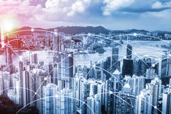 Modern urban skyline with high-speed data and internet communication network. Concept of cyber network in big city with copy space stock image