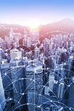 Modern urban skyline with high-speed data and internet communication network. Concept of cyber network in big city with copy space. Vertical orientation stock photo