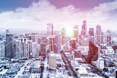 Modern urban skyline with high-speed data and internet communication network. Modern Seattle urban skyline with high-speed data and internet communication royalty free stock images