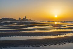 Cityscape of Oostende at Sunset, Belgium royalty free stock photo