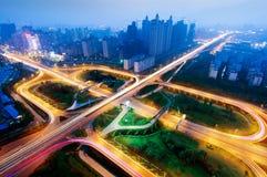 Modern urban viaduct at night Royalty Free Stock Images