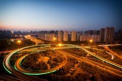 Modern urban viaduct night Royalty Free Stock Images