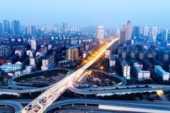 Modern urban viaduct at night Royalty Free Stock Photo