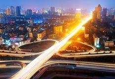 Modern urban viaduct at night Royalty Free Stock Image