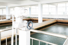 Modern urban wastewater treatment plant. Royalty Free Stock Photos