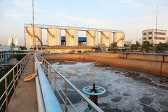 Modern urban wastewater treatment plant. Taken on 2014 royalty free stock photo