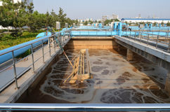 Modern urban wastewater treatment plant. Water treatment tank with waste water with aeration process taken on 2014 stock photos