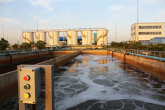 Modern urban wastewater treatment plant. Water treatment tank with waste water with aeration process taken on 2014 stock images