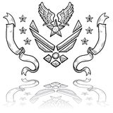 Modern US Air Force Insignia with Ribbons. Doodle style military rank insignia for US Air Force, retro with eagle wings and star Royalty Free Stock Images